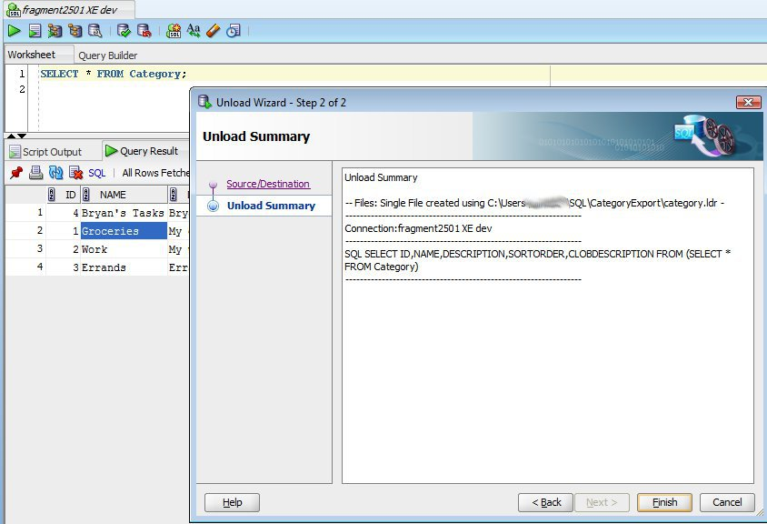 BryansGeekSpeak: Exporting Oracle Table Data Using SQL Developer and