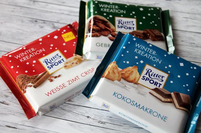 Ritter Sport Schokolade Winter-Kreationen - Weiße Zimt Crisp, Gebrannte Mandel, Kokosmakrone