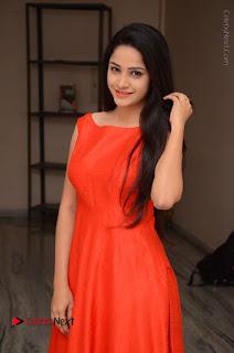 Telugu Actress Divya Nandini Stills in Orange Sleeveless Gown at Chennai Chaitrama Movie le Launch Event  0011.JPG