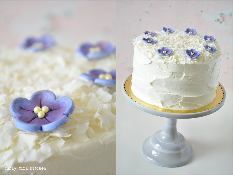 Blueberry Coconut Cake, Fondant Pansies, Edible Flowers, Flower Cake, White Cake, Mother's Day Cake