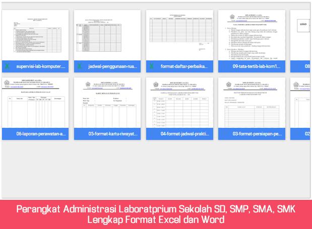 Perangkat Administrasi Laboratprium Sekolah SD, SMP, SMA, SMK Lengkap Format Excel dan Word