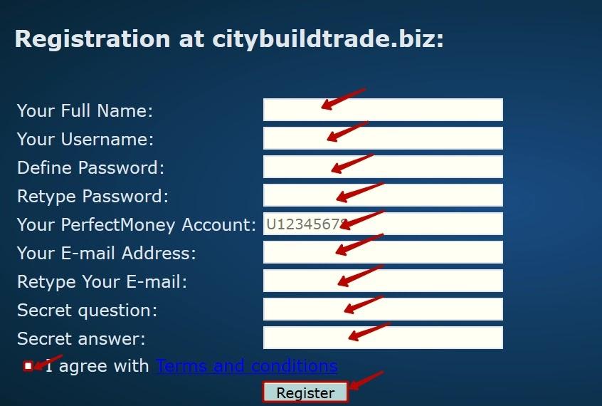 Регистрация в CityBuildTrade 2