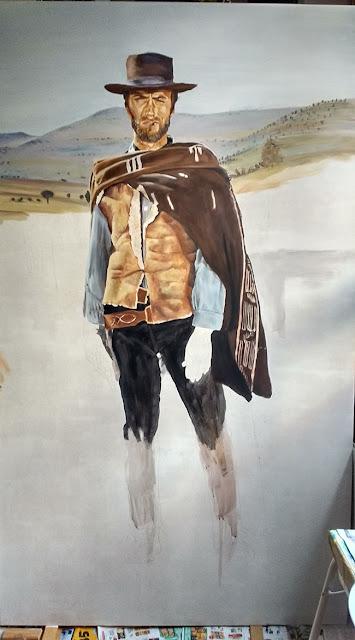 Proceso del cuadro, retrato de Clint Eastwood
