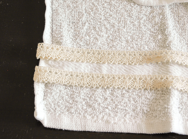 Sewing Dollar tree towels and lace