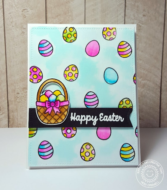 Sunny Studio: A Good Egg Easter Basket Watercolor Card by Heidi Criswell.