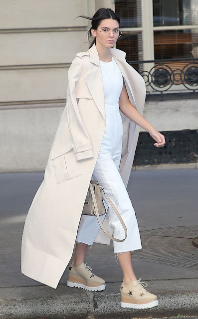 Kendall Jenner in a white on white outfit - celebrity street style!