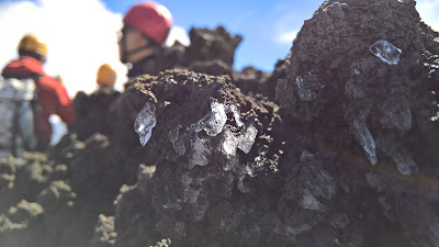Ice crystals at the crater - when we neared the crater, we put on helmets (provided as part of the ticket)
