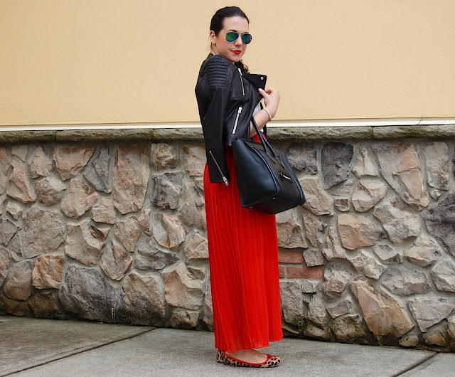 H&M Icons leather jacket, red pleated maxi skirt, Express tank top, Material Girl sunglasses and Celine Mini Luggage Tote.