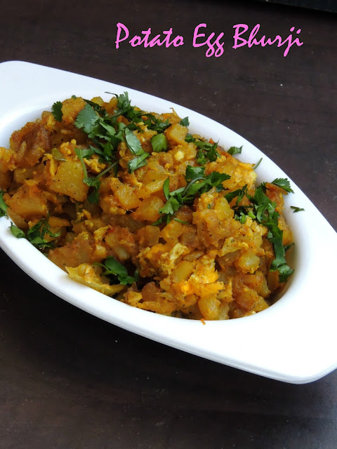 Potato egg bhurji, Indian Scrambled eggs with potatoes