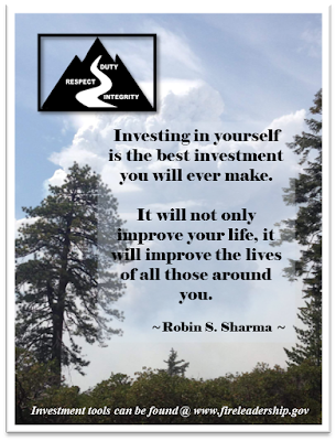 """Investing in yourself is the best investment you will ever make. It will not only improve your life, it will improve the lives of all those around you."" - Robin S. Sharma (blue skies, trees and smoke column)"