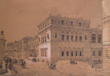 View of the New Hermitage from Millionnaya Street by Luigi Premazzi - Cityscape Drawings from Hermitage Museum