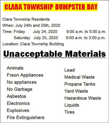7-24/25 Clara Twp. Dumpster Days