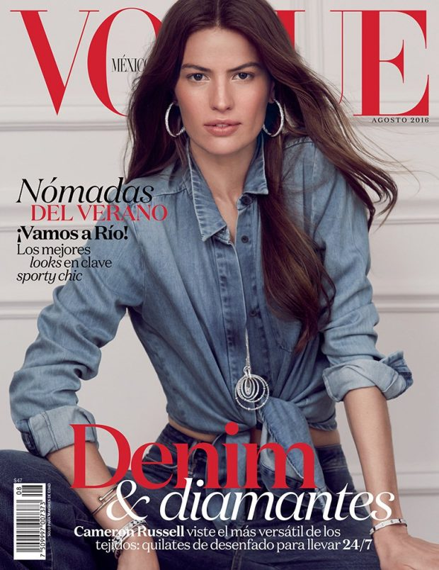 Cameron Russell wears denim for Vogue Mexico August 2016