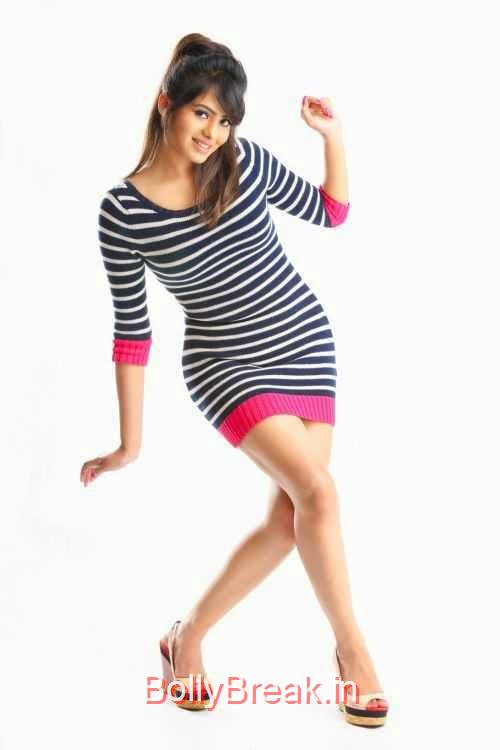 Deepa-Sannidhi-Photo-Stills-3, Deepa Sannidhi Hot HD Images in Black White Striped Dress
