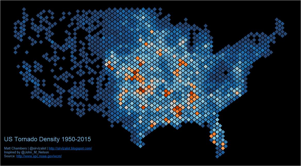 U.S. Tornado Density (1950-2015)