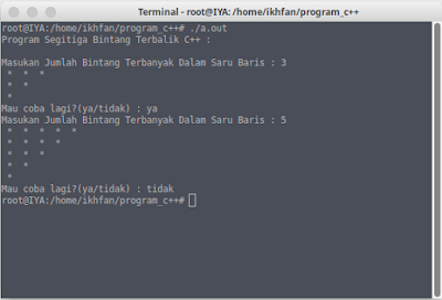 program segitiga bintang terbalik input manual c++