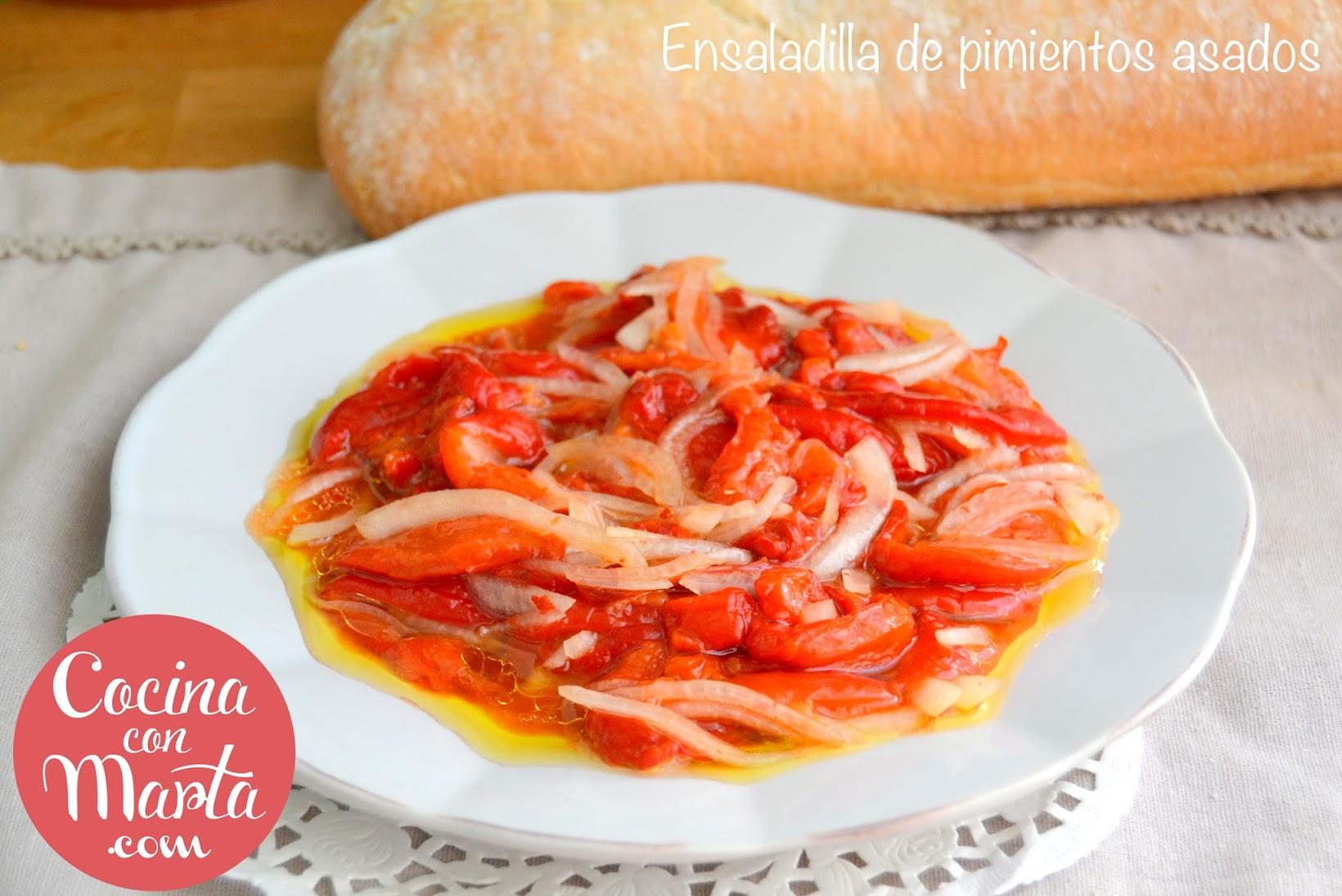 ensaladilla de pimientos asados, pimientos rojos, receta, Málaga, receta típica malagueña, sana, cocina con marta