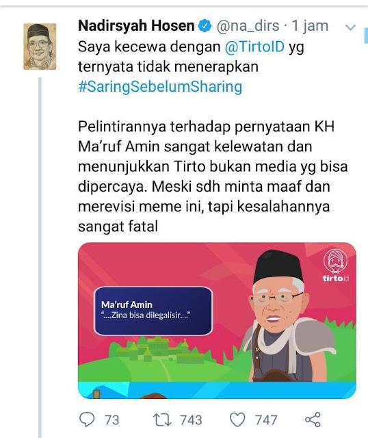 Tirto Pelintir Pernyataan Kiai Maruf, Gus Nadir: Media Sampah