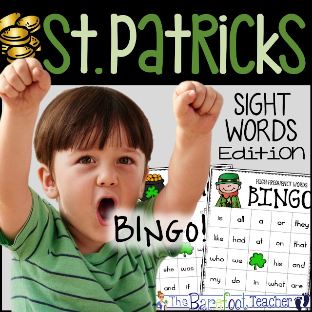 This St. Patrick's Day BINGO game will fit right in with the other activities and crafts you're doing with your Preschool, Kindergarten, or First Grade students. Whether used for a class party or for centers time, it will reinforce the high frequency words you've learned so far this year!