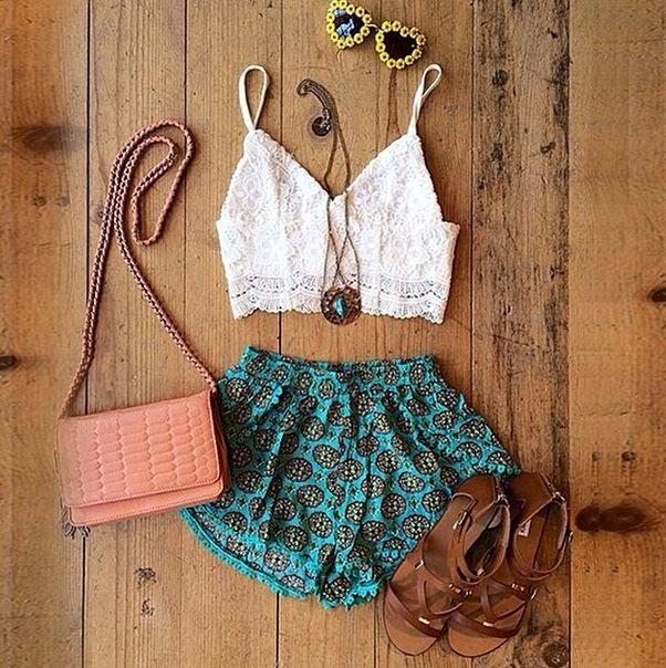 cropped top with some funky shorts and neutral accessories