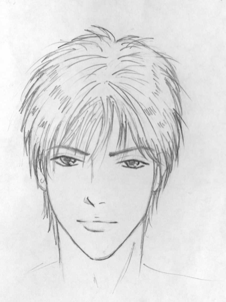 how to draw manga faces male