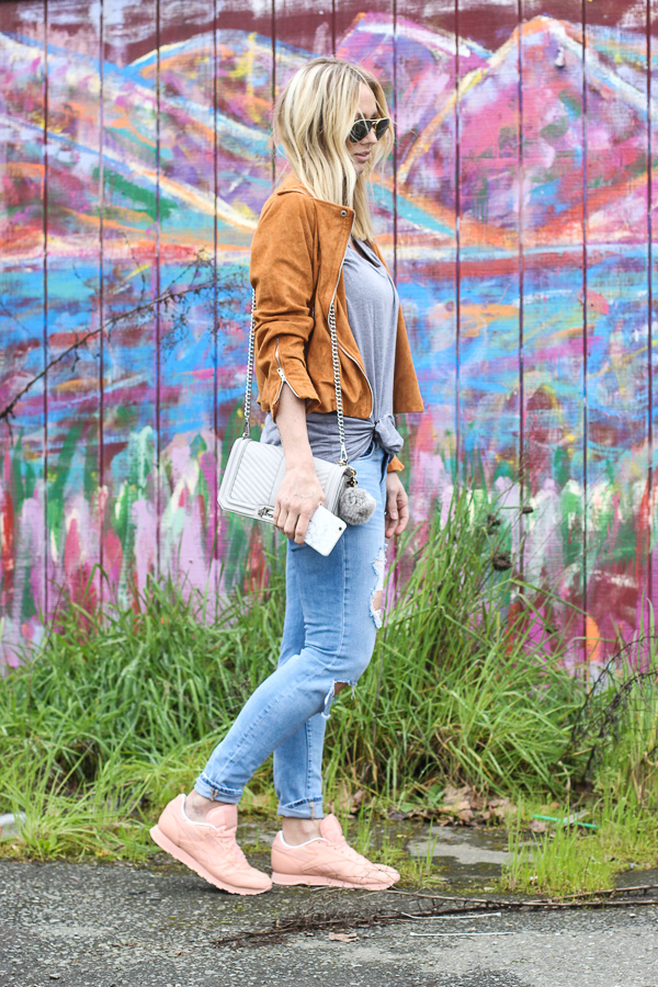 brown suede jacket grey tee ripped skinny jeans pink sneakers parlor girl