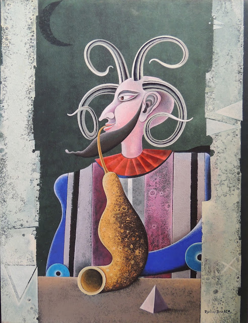 Josep Maria Rovira Brull Pintura surrealista retrato hombre musico