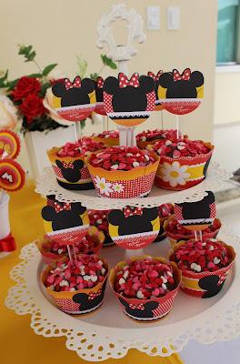 cupcake festa de aniversário tema minnie vermelha