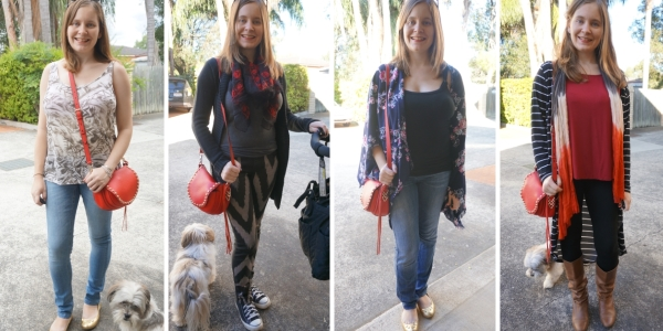 4 ways to wear red saddle bag and skinny jeans | awayfromtheblue blog