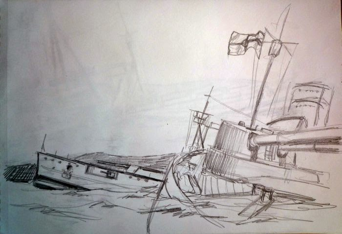 Boceto de pintura hyndimiento Scapa Flow 2