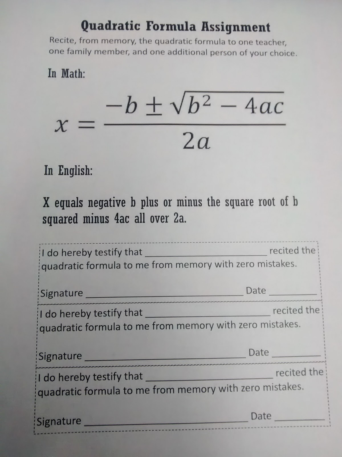 Math Love Quadratic Formula Templates