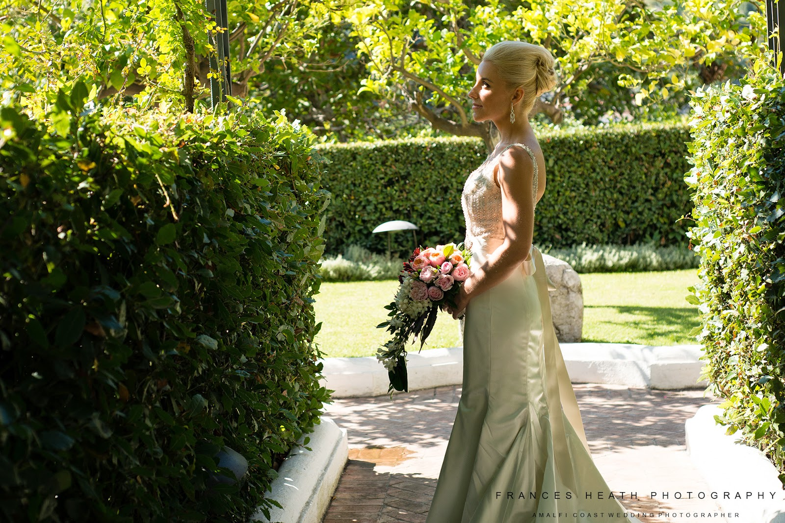 Bridal portrait at Hotel Caruso in Ravello