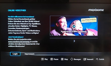 Samsung BlueRay Player BD-C 6800 , Internet@TV und Maxdome (FAIL)
