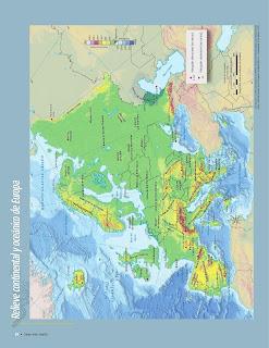 Apoyo Primaria Atlas de Geografía del Mundo 5to. Grado Capítulo 2 Lección 1 Relieve Continental y Oceánico de Europa
