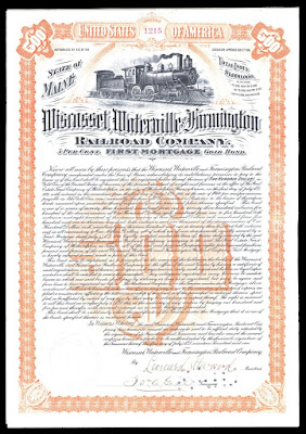Wiscasset, Waterville and Farmington Railroad Company bond from 1901