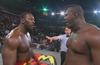 WCW World War 3 1998 - Booker T confronts Stevie Ray about his association with the nWo