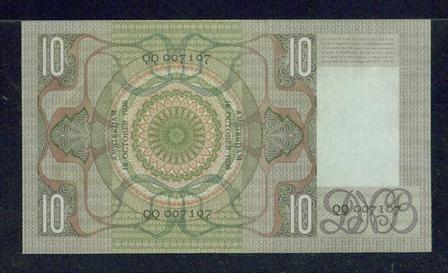 Netherlands money currency 10 Gulden banknote