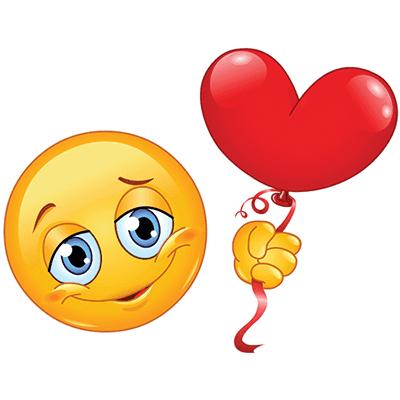 Emoji with heart balloon