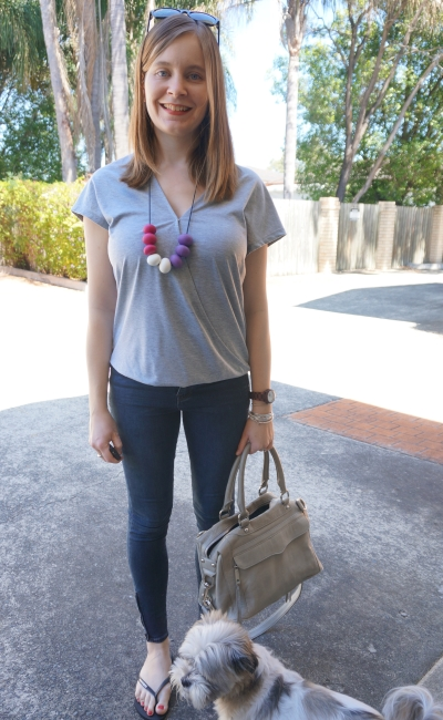 Grey wrap tee, Jeanswest Prima skinny jeans, Rebecca Minkoff MAM bag | AwayFromBlue