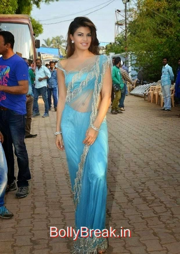 Jacqueline Fernandez Pictures, Jacqueline Fernandez Hot Pics In Blue Saree from Roy Movie Promotions On Big Boss 8