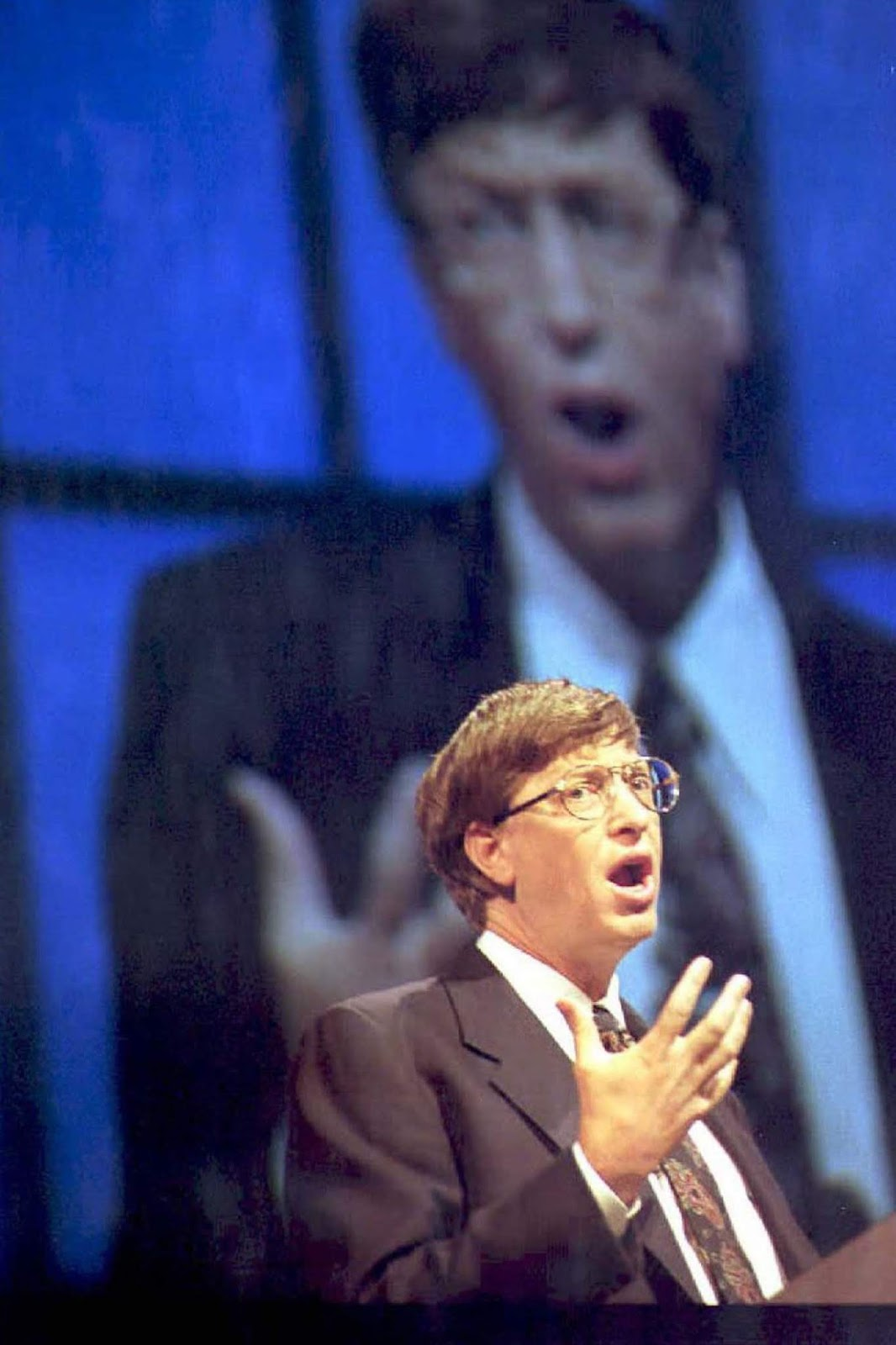 Microsoft CEO Bill Gates announces the Aug. 24 release date of Windows 95 at the Comdex Computer Show in Atlanta, Georgia.