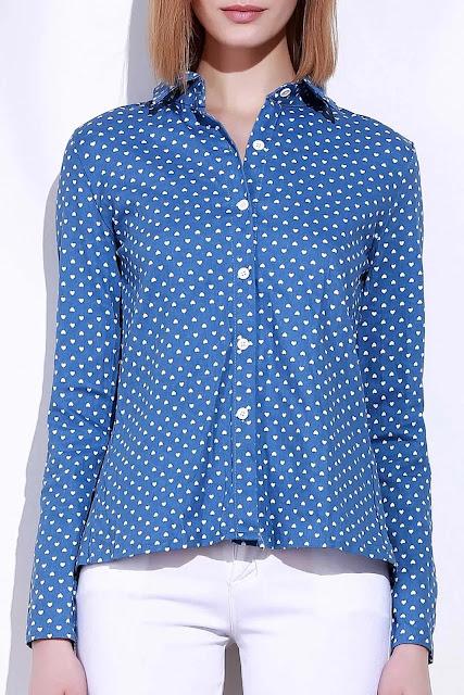 Stylish Stand-Up Collar Long Sleeve Polka Dot Slit Shirt For Women