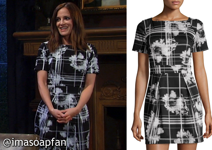 Hayden Barnes's Black and White Floral and Check Print Dress - General Hospital