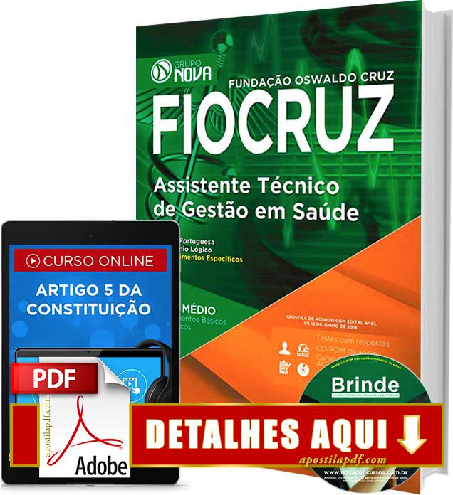 Apostila FIOCRUZ 2016 Assistente Técnico de Gestão em Saúde Impressa
