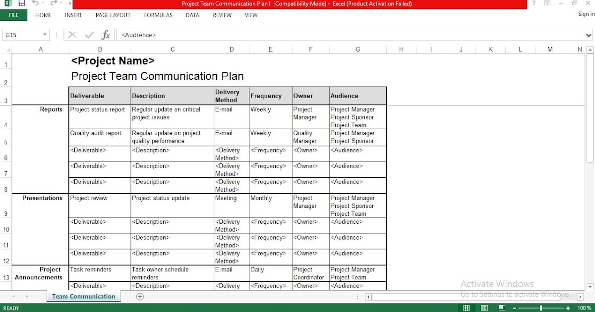 Project Team Communication Plan Excel Template Free Download