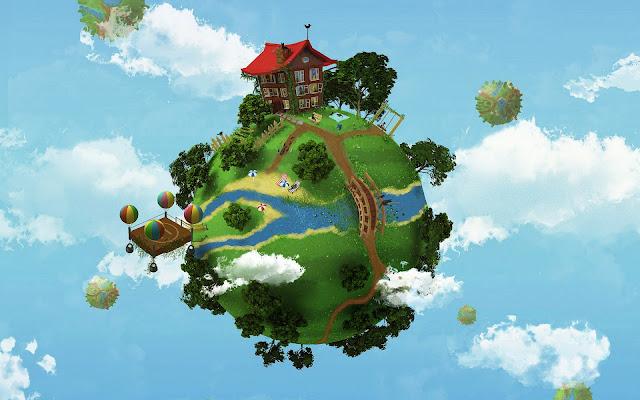3D aarde met een miniwereld