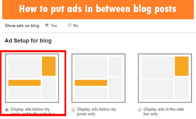 how to put ads in between blogger posts