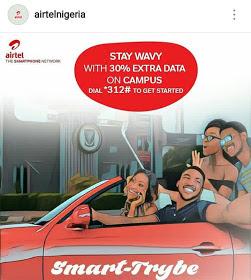 Enjoy Airtel 30% Campus Data Bonus Offer For Students On SmartTrybe 2.0