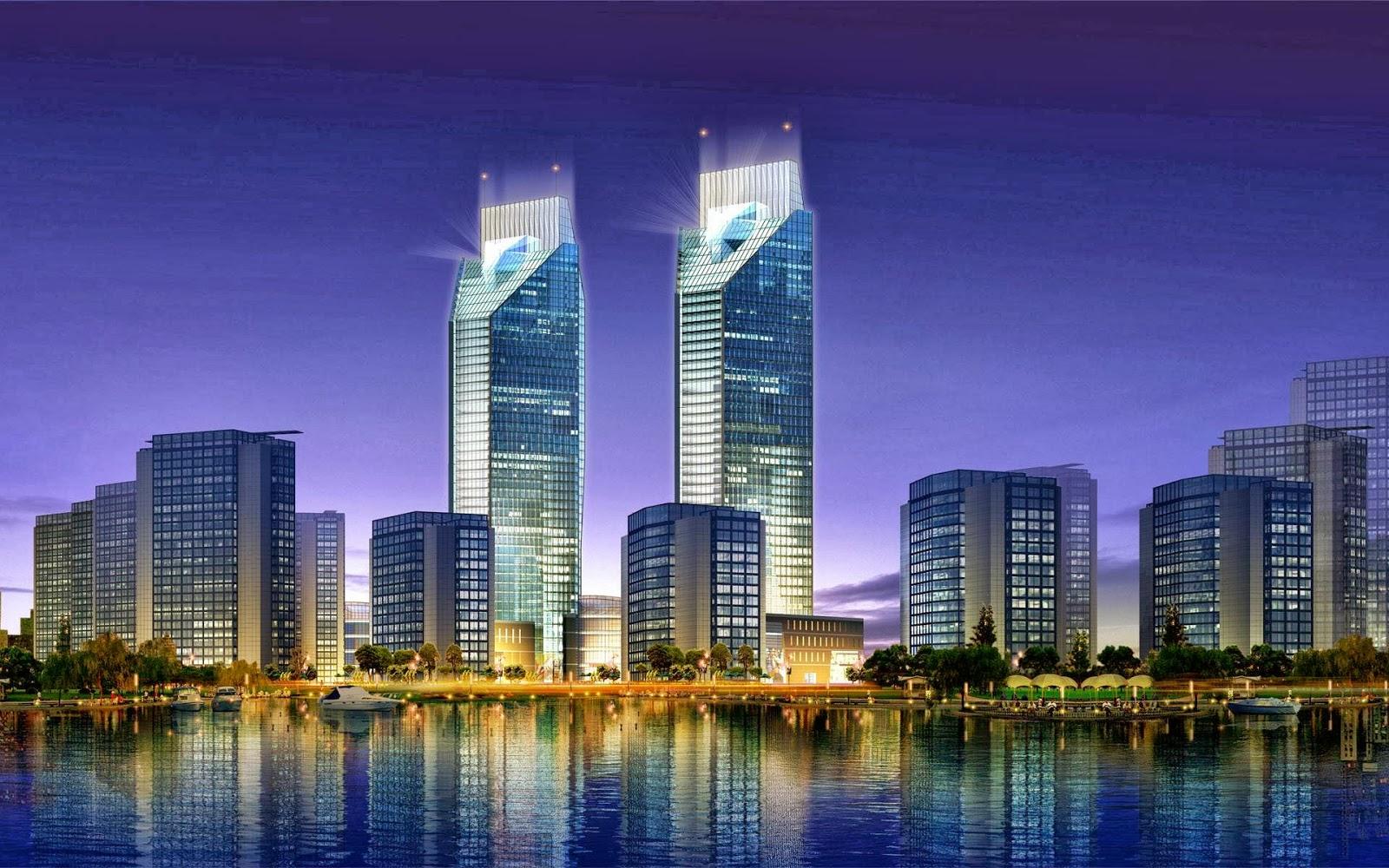 Fondos De Pantalla Ciudad: Fondo De Pantalla Ciudades En La Noche Rascacielos