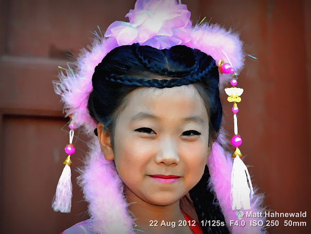 PhotoScape, post production, pictorialisation, water-painting filter, people, Chinese girl, street portrait, China, traditional costume